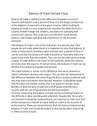 Balance of trade sample essay SlideShare