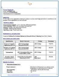 sample resume format mca freshers resume format for mca student