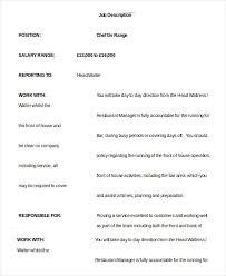 head waiter job description sample waiter job description