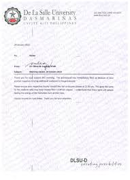 de la salle university dasmari ntilde as memo 091 morning classes 24 2013