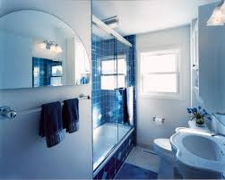 cool blue white bathroom nuance with unique half circle mirror and sink shape also blue ceramic bathroom incredible white bathroom interior nuance