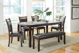 Kitchen Table With Benches Set Coaster Dupree Casual Dark Brown Dining Table Bench 4 Side Chairs Set