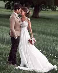 <b>Lovely</b> Simple Beach <b>Lace Appliqued</b> Cap Sleeves Chiffon Wedding ...