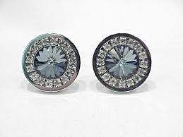 Foster Blue Grey Rivoli And <b>Clear Rhinestone Silver Tone</b> Cufflinks
