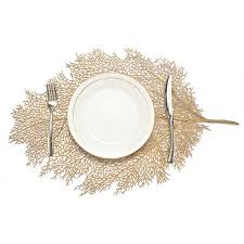 <b>1PCS</b> Kitchen <b>Placemat</b> Silver Artificial Leaf EVA Dining <b>Table Mat</b> ...