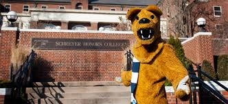 schreyer honors scholar your classic over achiever the nittany lion in front of the schreyer honors college penn state