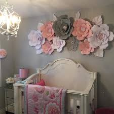 Paper <b>flower</b> wall in girls bedroom. Grey, <b>pink</b> and white ...