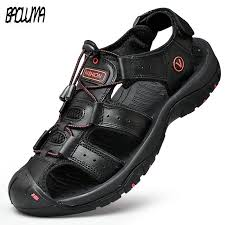 Classic <b>Men's Sandals Summer</b> Genuine Leather <b>Sandals</b> ...
