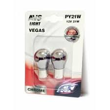 A07112S <b>Лампа AVS Vegas</b> CHROME в блистере 12V. <b>PY21W</b> ...