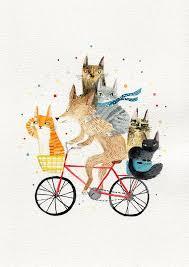 Dog and <b>cats</b> A3 <b>print</b>- cycling <b>animals print</b> | <b>Cat</b> art, Watercolor ...