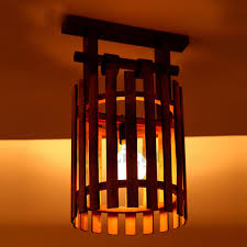 vintage wooden and bamboo fixture semi flush mount ceiling lights bamboo lighting fixtures