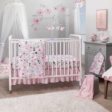 Blossom <b>Pink Watercolor</b> Floral <b>3</b>-<b>Piece</b> Baby Crib Bedding Set
