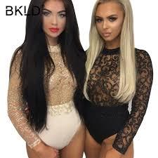 BKLD 2018 <b>Glitter</b> Body Suits For Women <b>Sexy Gold</b> Sequined Club ...