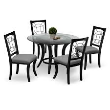 Grey Dining Room Table Sets Contemporary Black Lacquered Rectangular Shape Dining Table Design
