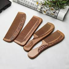 1pcs <b>Anti Static Comb Natural</b> Peach Solid Wood Comb Engraved ...
