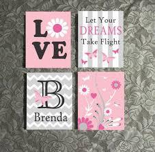 <b>Girl Butterfly Love</b> Canvas Set, Nursery Wall Art, Custom Painted ...
