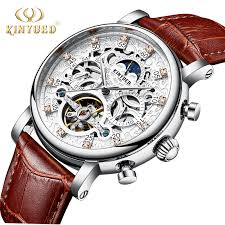 <b>KINYUED Skeleton Automatic Watch</b> Men Sun Moon Phase ...