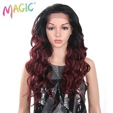 <b>Magic Hair Ombre Wigs</b> For Women Red Wigs Synthetic Lace Front ...