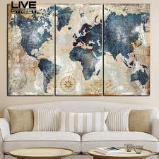 Livestreet <b>3Pcs</b>/Set World Map Wall Art Paintings <b>No Frame</b> ...