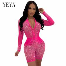 <b>YEYA</b> Sexy Flash Diamond Party Jumpsuits Women Transparent ...
