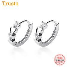 Trustdavis Genuine 925 Sterling Silver Geometric Round <b>Wafer Ear</b> ...