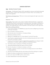 substitute teacher job description for resume   sales   teacher    sample resume  resumes how to make a resume