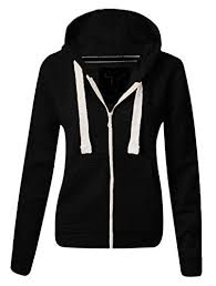 <b>Ladies</b> Fleece PLAIN ZIP <b>HOODIE Plus Size</b> Zipper <b>Sweatshirt</b> ...