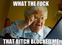 WHAT THE FUCK THAT BITCH BLOCKED ME - Grandma finds the Internet ... via Relatably.com