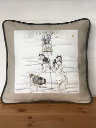 cabin decor lodge sled: cabin or lodge pillow cover winter pillows paris fabric new designer cushions reindeer sled dogs huskies sleds quot holiday pillow