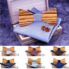 <b>4PCS Wooden Bow</b> Tie Cufflinks <b>Men</b> Gifts Party Wedding <b>Wood</b> ...