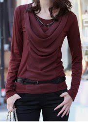 <b>Fashionable Scoop Neck Solid</b> Color Ruched Long Sleeve ...