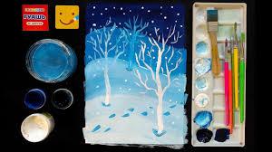 Как нарисовать <b>зимний</b> лес/ Рисуем дома поэтапно, уроки ...