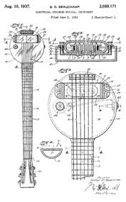 rickenbacker sketch of rickenbacker frying pan lap steel guitar from 1934 patent application
