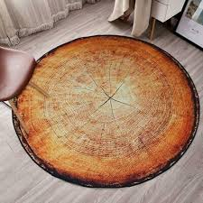<b>Nordic</b> Style <b>3D</b> Round Carpet <b>Wood Grain</b> Tree Stump Area Rug ...