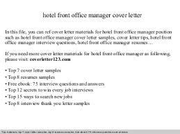 sample hotel management cover letter  hotel front office manager    hotel front office manager cover letter