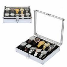 <b>10 Grid Aluminium</b> Watch Display Box Watches Case Jewelry ...