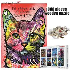 <b>MOMEMO</b> Color Cat Wooden Puzzles 1000 Pieces Adult ...
