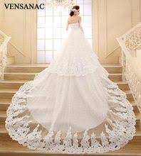 <b>VENSANAC</b> Sequined Strapless Court Train Ball Gown Wedding ...