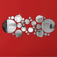 Circles Mirror Stlye Silver <b>Removable</b> Decal <b>Vinyl Art</b> Wall Sticker ...