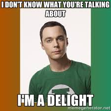 I don't know what you're talking about I'm a delight - sheldon ... via Relatably.com