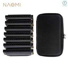 ∮ <b>NAOMI</b> Piedmont Blues Harmonica Harp Set of 7 (G, A, Bb, C, D ...