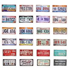 <b>USA Vintage Metal Tin Signs</b> Route 66 Car Number License Plate ...