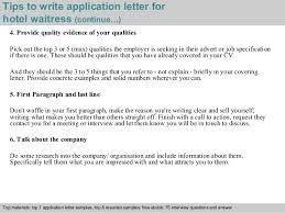 4 tips to write application letter for hotel waitress cover letter examples for waitress