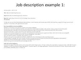 hr lesson   learning outcomes discuss different methods of    job description example   job description   snp co ltd title  sales and marketing