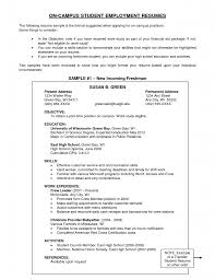 resume examples on campus student employment with new incoming    resume examples on campus student employment with new incoming freshman examples of resume
