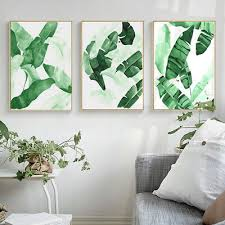<b>Green Plant</b> Leaf Canvas <b>Nordic Poster</b> Wall Art Print Picture ...