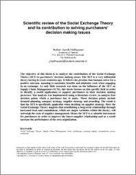 scientific review of the social exchange theory and its  scientific review of the social exchange theory and its contribution to solving purchasers decision making issues