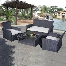patio couch set goplus pcs outdoor patio furniture set wicker garden lawn sofa rattan ebay