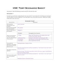 hw tort scenario sheet key