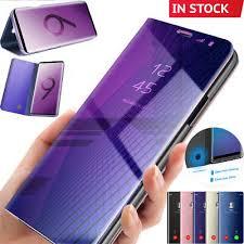 Mirror <b>Smart Flip</b> Stand <b>Case</b> Cover Samsung Galaxy Note 9 S10 ...